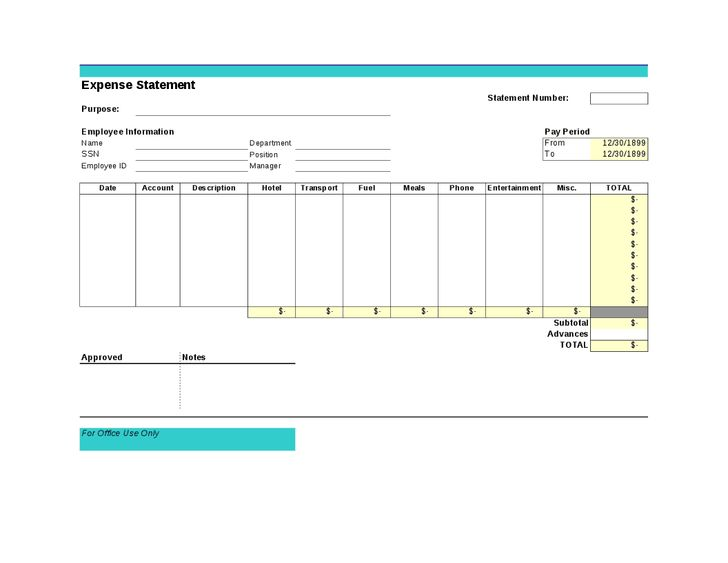 Creative Business Form Annual Expense Report Template : Vlcpeque