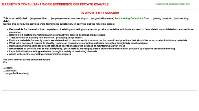 Marketing Consultant Work Experience Certificate