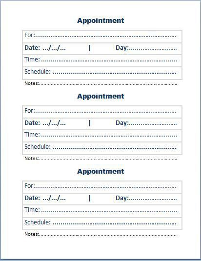 Free Appointment Card Template | Formal Word Templates