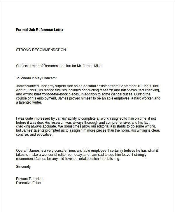 Formal Reference Letter - 9+ Free Word, PDF Documents Download ...