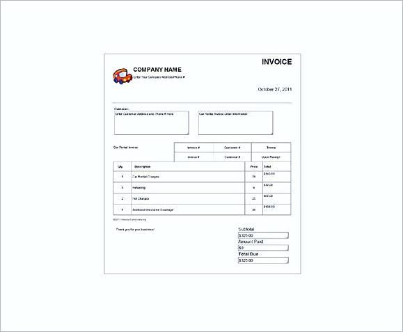 Rent Invoice Template