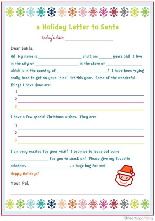 IHeart Organizing: Free Printables - Santa Letters | Therapeutic ...