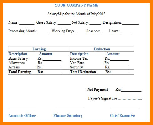 7+ free payslip template | cv sample format