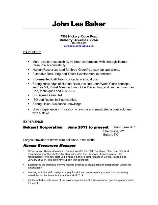 Les Baker Resume-Human Resources Manager