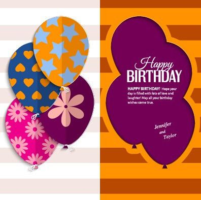 Template birthday greeting card vector material 05 - Vector ...