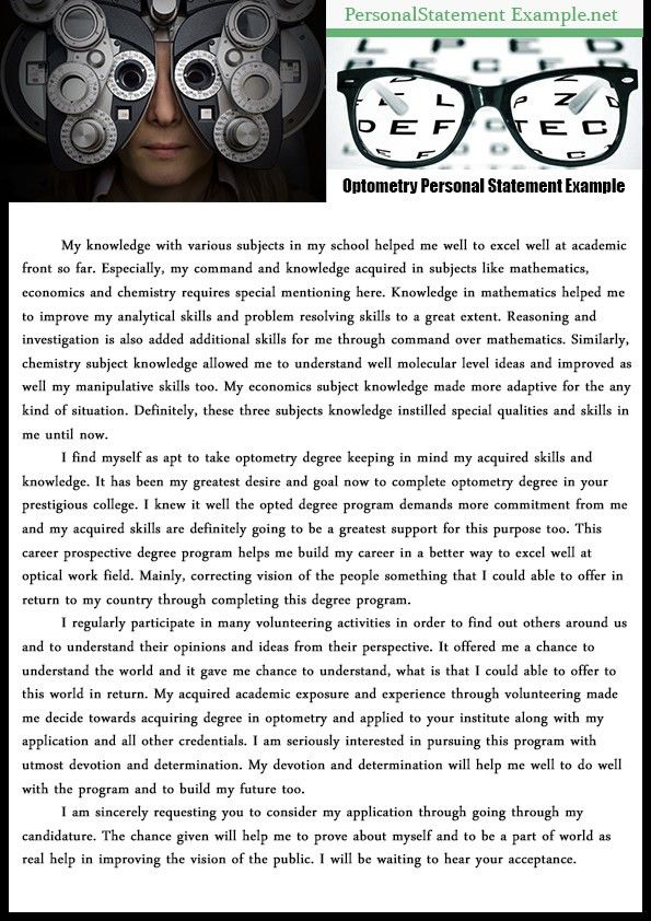 Excellent Professional Optometry Personal Statement Example ...