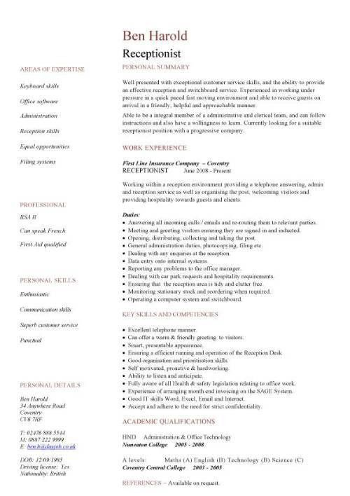 sample resume for secretary receptionist images free resume ...