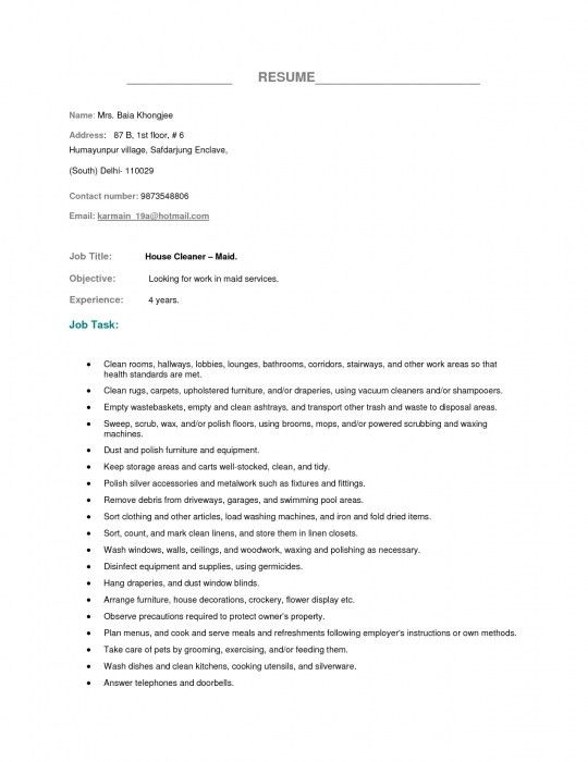 Brilliant Resume Format For Housekeeping | Resume Format Web