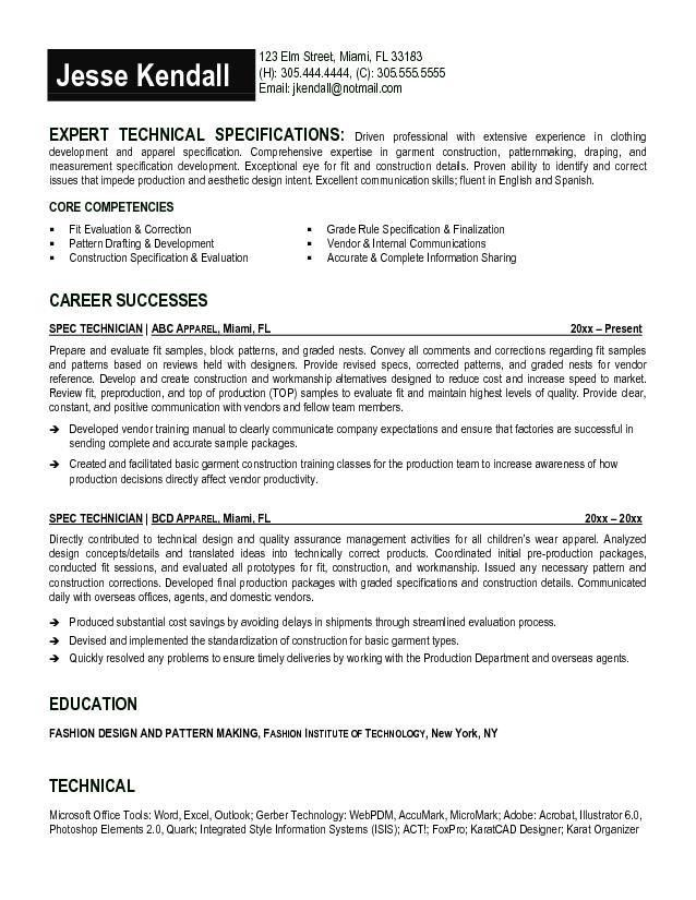 Free Spec Technician Resume Example
