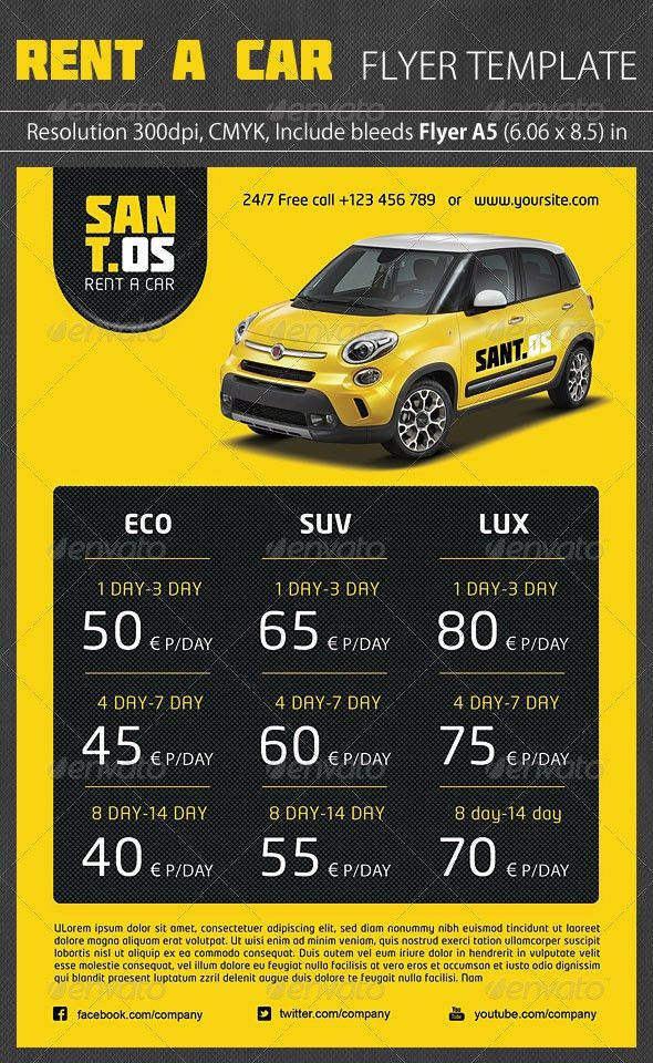 Rent a Car Promotion Flyer by grapulo | GraphicRiver