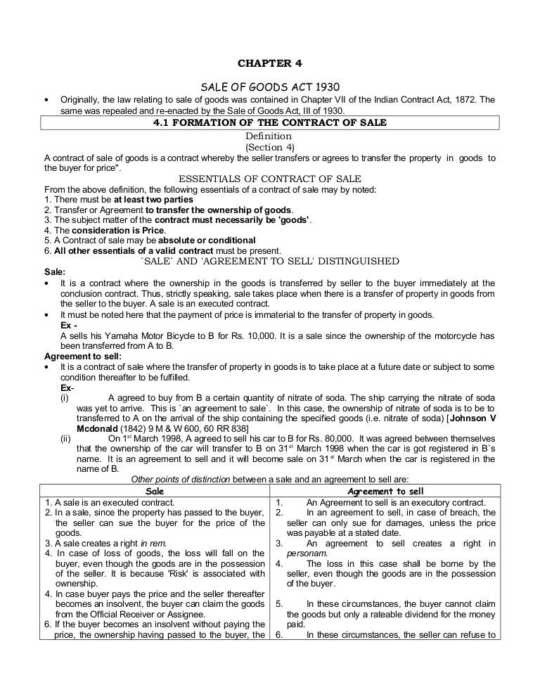 Chapter 04 Sale Of Goods Act