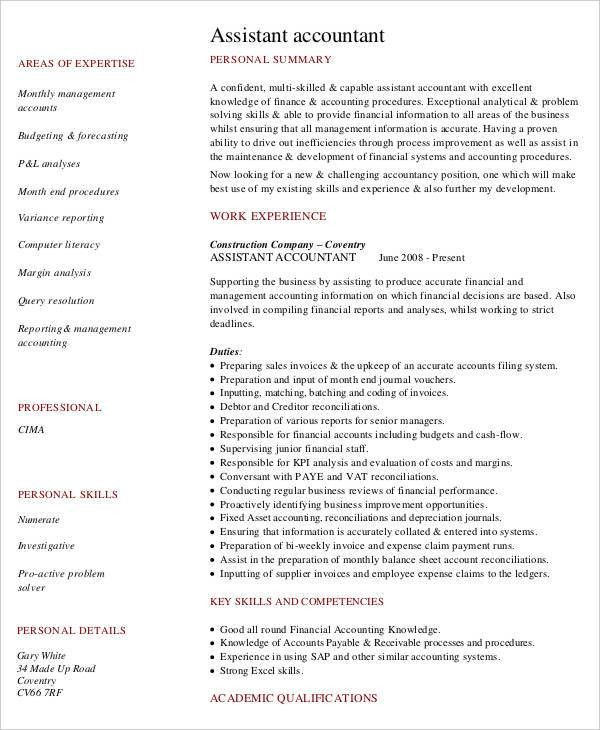 4+ Fresher Accountant Resume - 6+ Free Word, PDF Documents ...