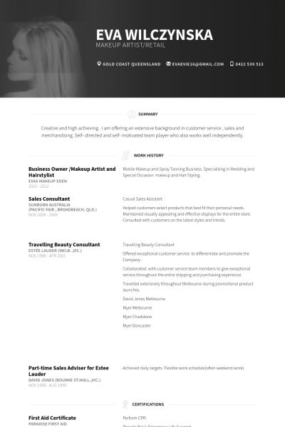 Artist Resume samples - VisualCV resume samples database