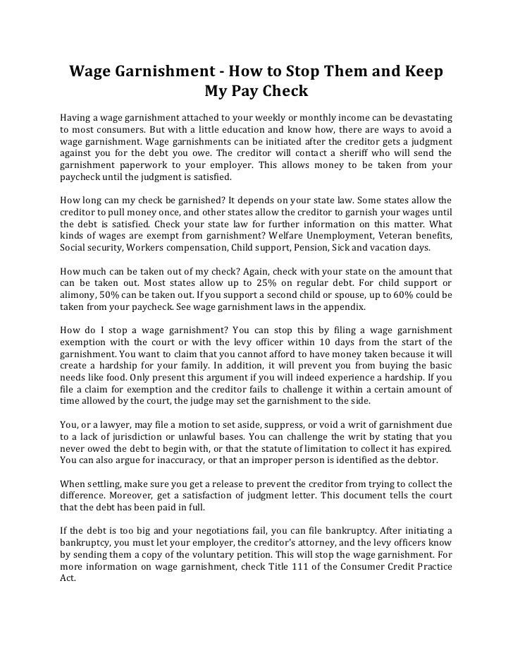 Wage garnishment how to stop them and keep my pay check