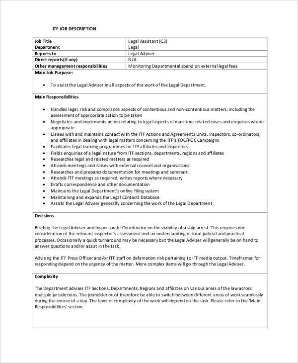 Sample Legal Assistant Job Description - 8+ Examples in PDF