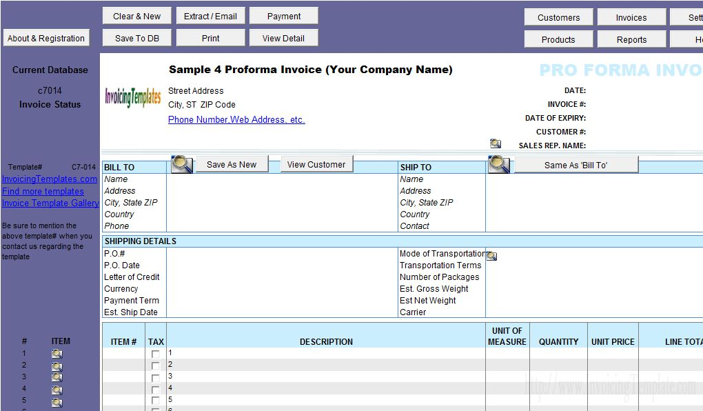 Proforma Invoice Template (4th Sample, Landscape Page Orientation)