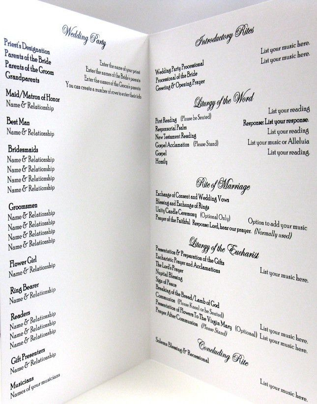 catholic wedding program idea, clean and simple layout love the ...