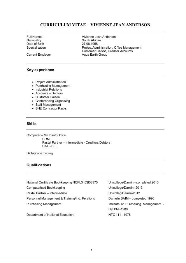 Vivienne Anderson CV - World Bank format 2015