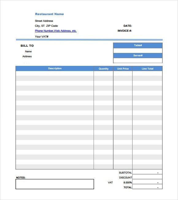 Receipt Form In Doc. Restaurant Dining Invoice Receipt Sample ...