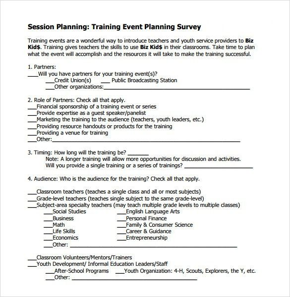 Sample Training Survey – 7+ Example, Format