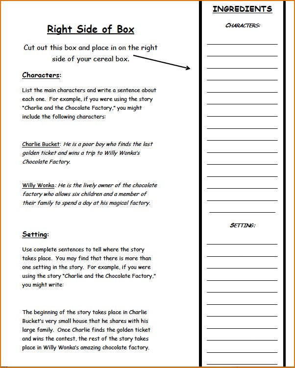 7+ Cereal Box Book Report Template | Printable Receipt