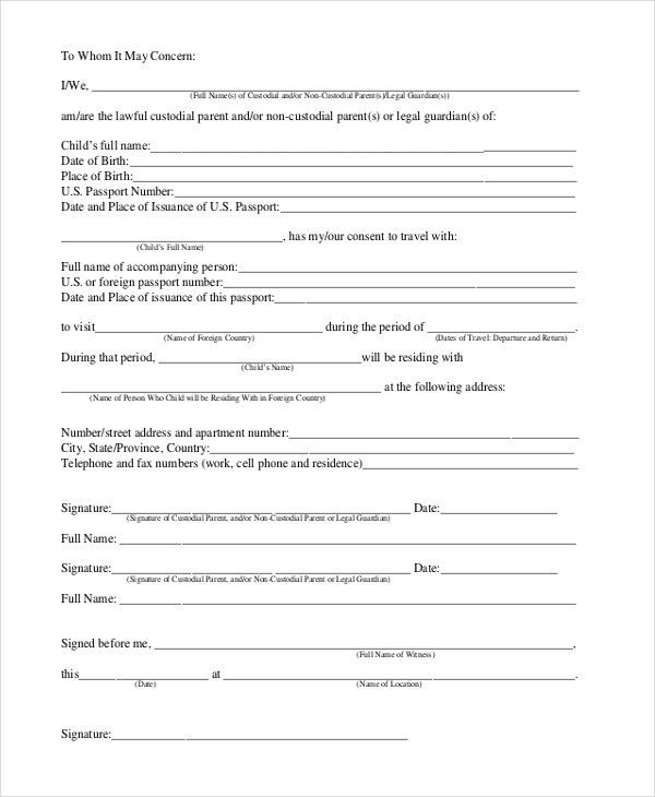 One Parent Travel Consent Form [Template.billybullock.us ]