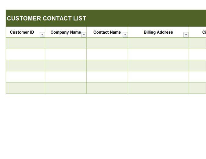 Basic customer contact list - Office Templates