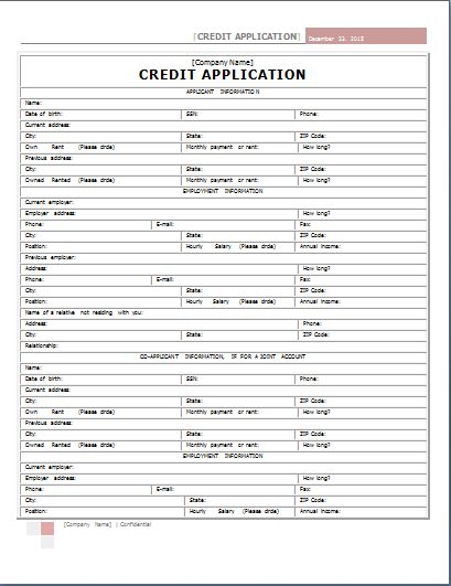 Word Internal Credit Application Form Template | Word Document ...