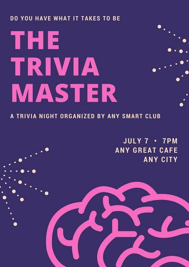 Violet Brain Vector Trivia Night Poster - Templates by Canva