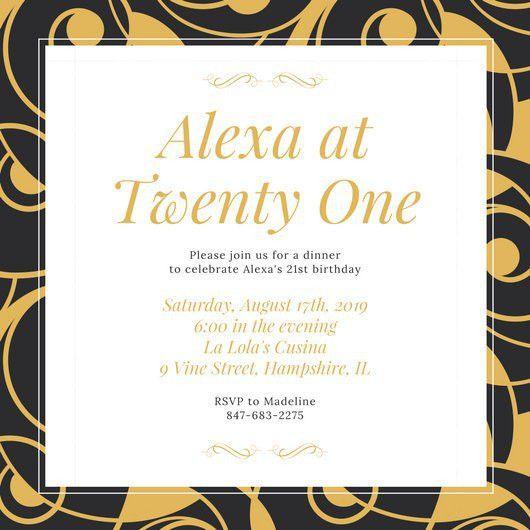 Black and Gold Elegant Patterned 21st Birthday Invitation ...