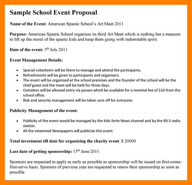 4+ Event Proposal Examples | Resumes Great