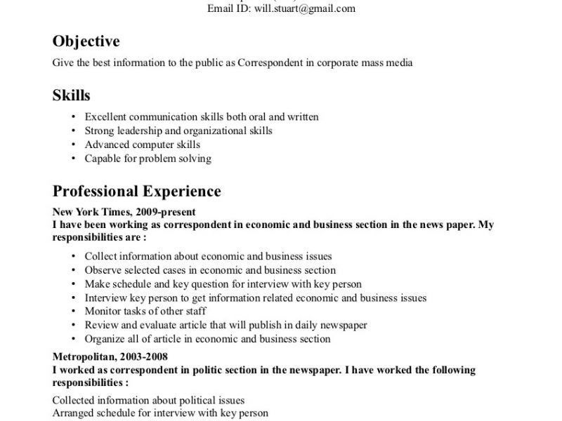 Innovation Idea Key Skills Resume 13 Correspondent Example - CV ...