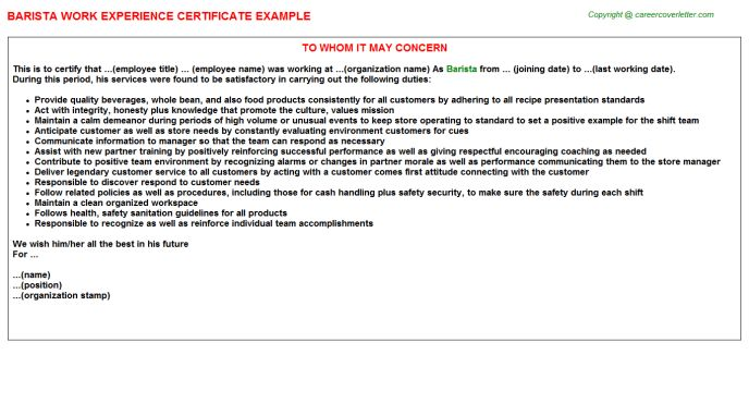 Barista Work Experience Certificate