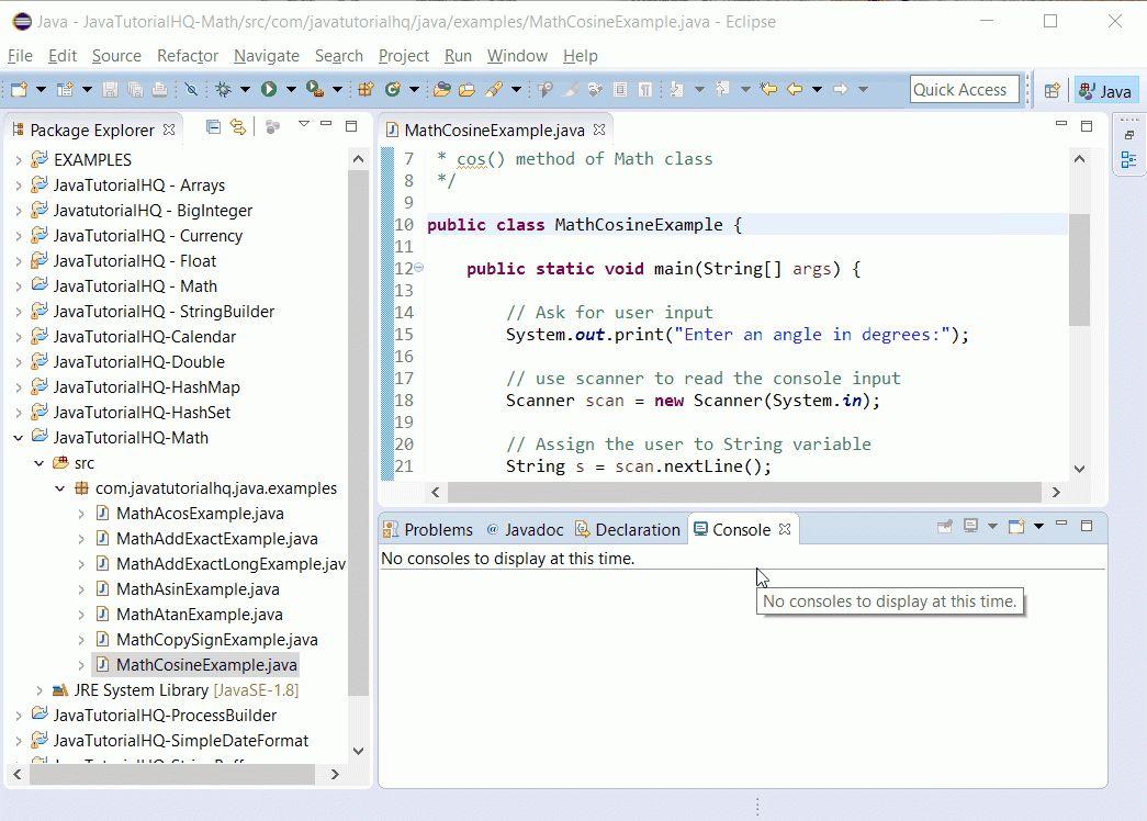 Java Math cos() method example