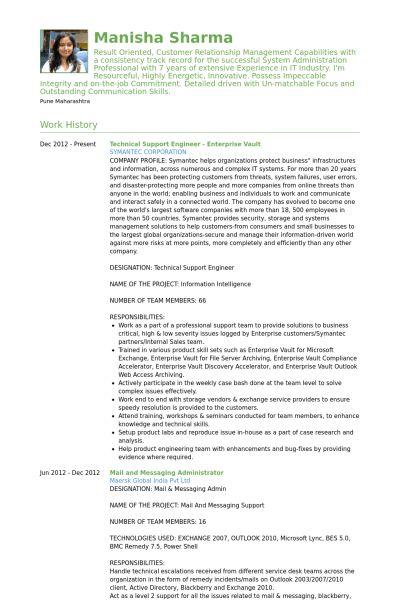 Technical Support Engineer Resume samples - VisualCV resume ...