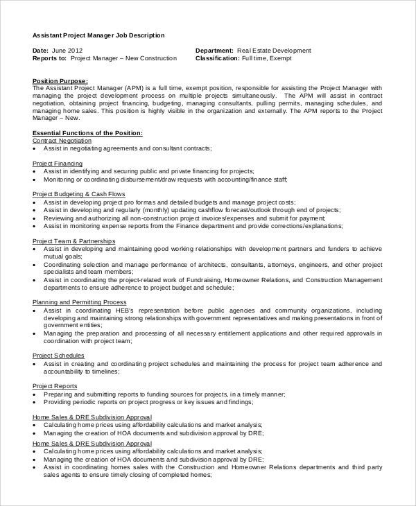 construction project manager job description sample