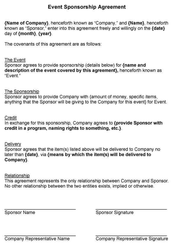 Sponsor Agreement Sponsorship Agreement Template Sample Form – Athlete Sponsorship Contract Template