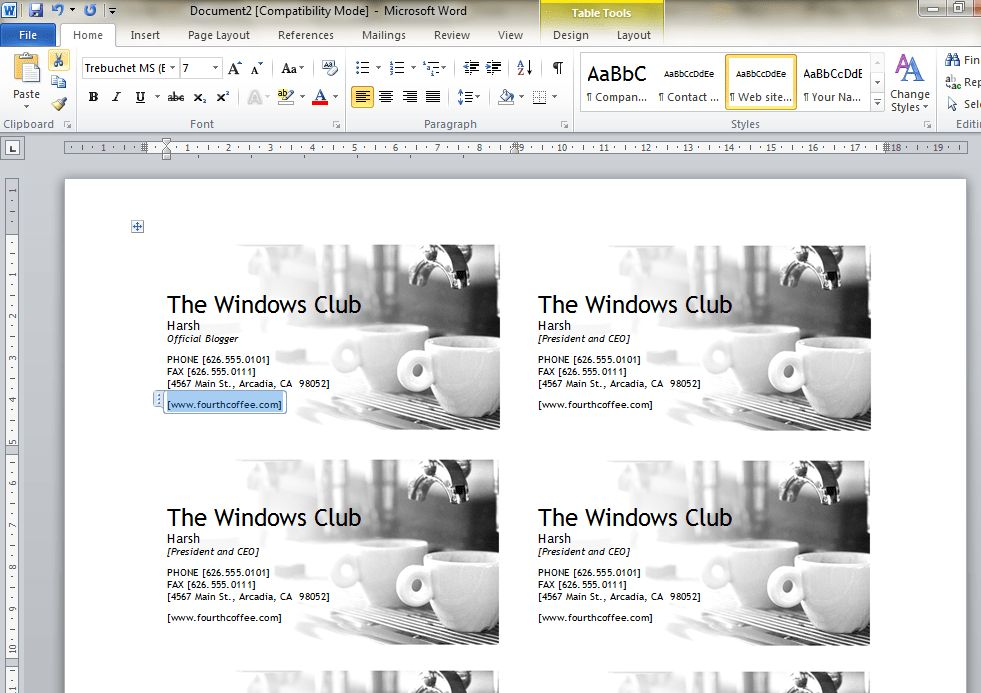 How to design Business Cards using Microsoft Word 2010