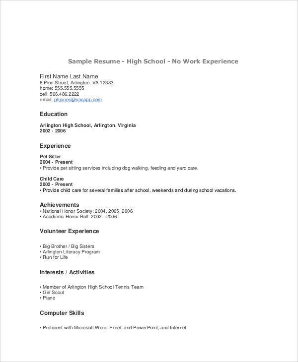 Sample Teenage Resume - 5+ Examples in Word, PDF