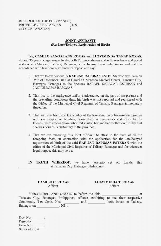 Joint Affidavit Late Or Delayed Registration Of Birth Filesishare ...