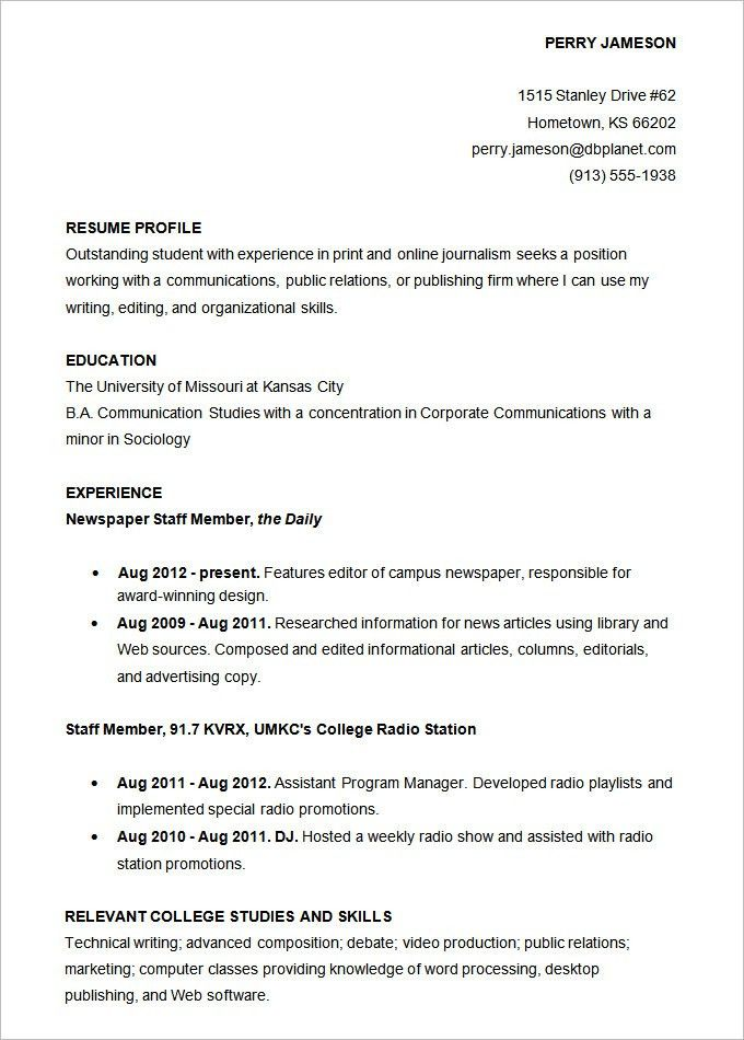 Academic Resume Template For College. Resume Sample Accounts ...
