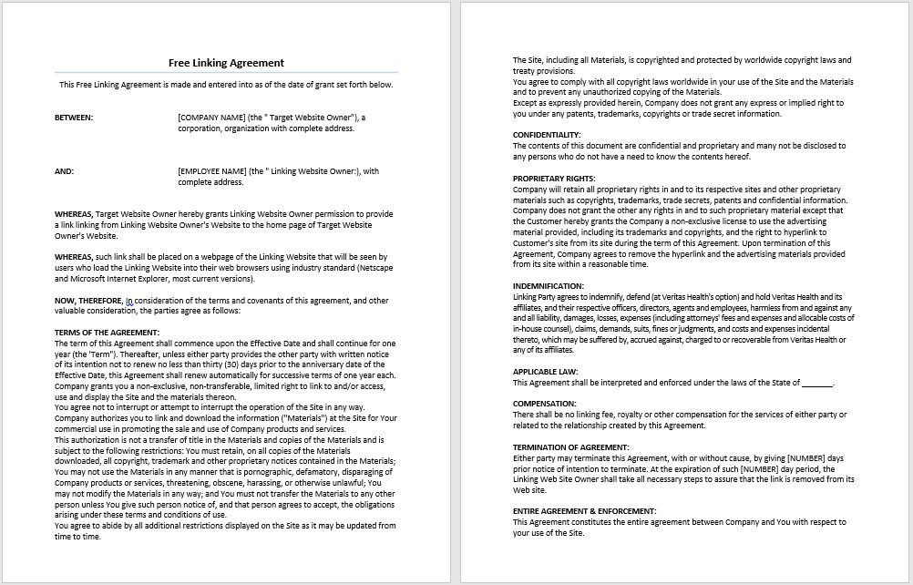 Free Linking Agreement Template | Microsoft Word Templates