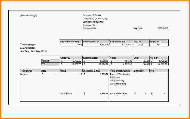 8+ blank pay stub template | Letter Template Word