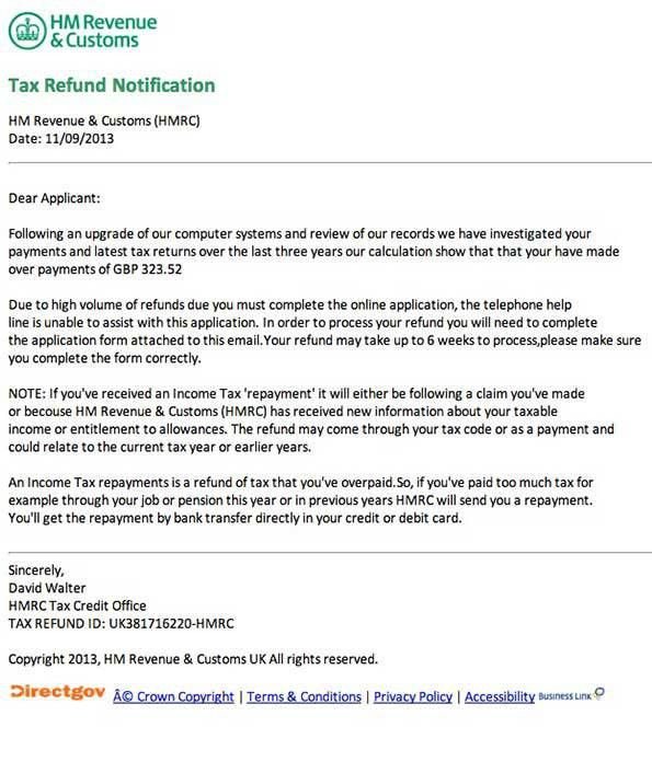 HM Revenue & Customs Refund of Overpayments Phishing Scam