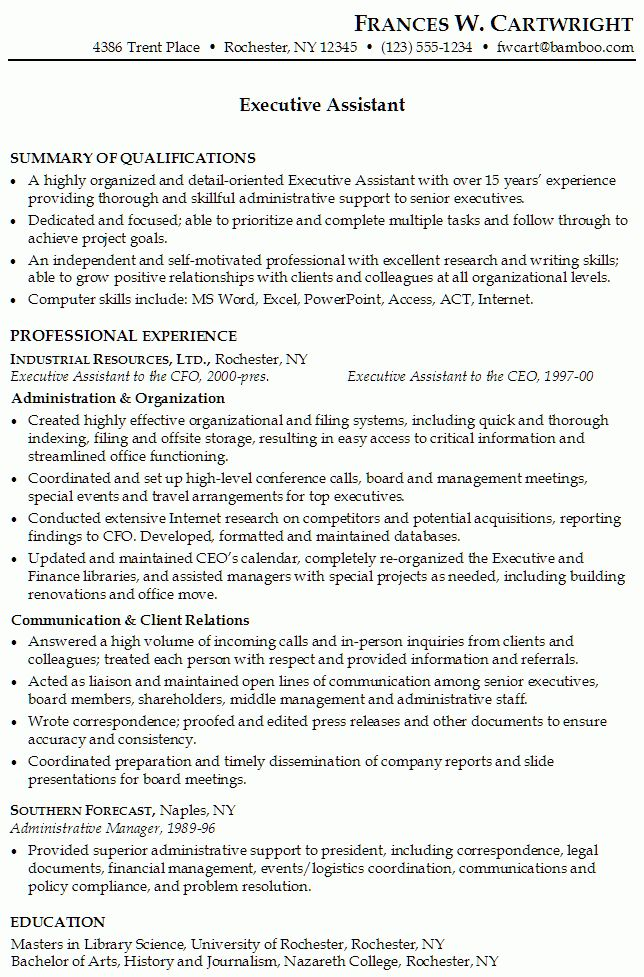 Resume for an Executive Assistant - Susan Ireland Resumes