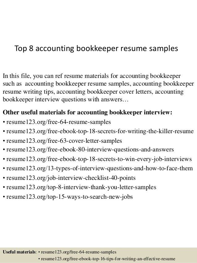 top 8 accounting bookkeeper resume samples 1 638