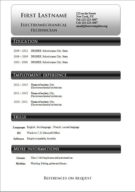 Free cv templates #233 to 239 – freecvtemplate.org