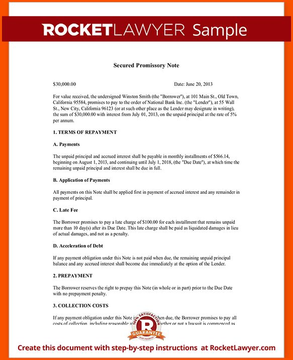 11+ secured promissory note template | Survey Template Words