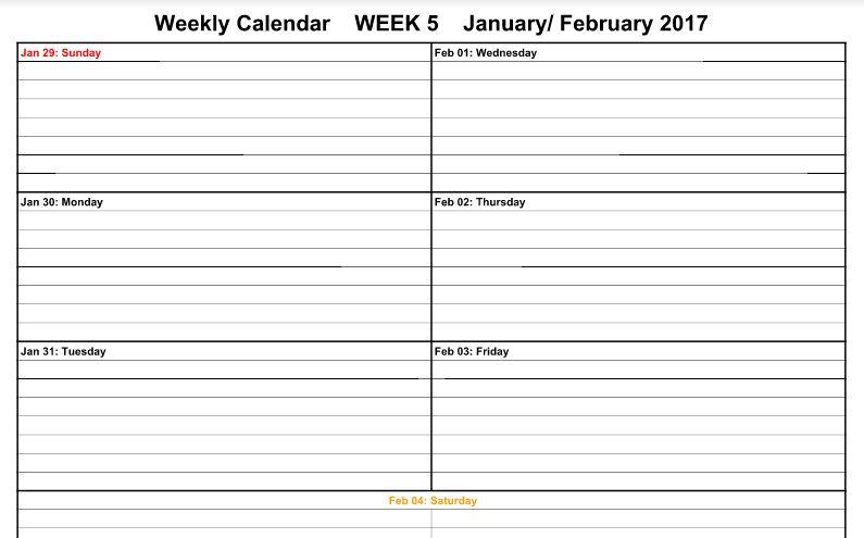 February 2017 Calendar Printable - Word, PDF | Printable Calendar ...