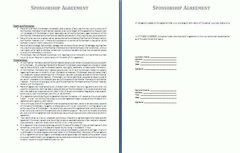 Sponsorship Agreement Template | Free Agreement Templates